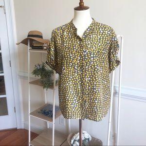 Cabi silk clover polka dot blouse medium